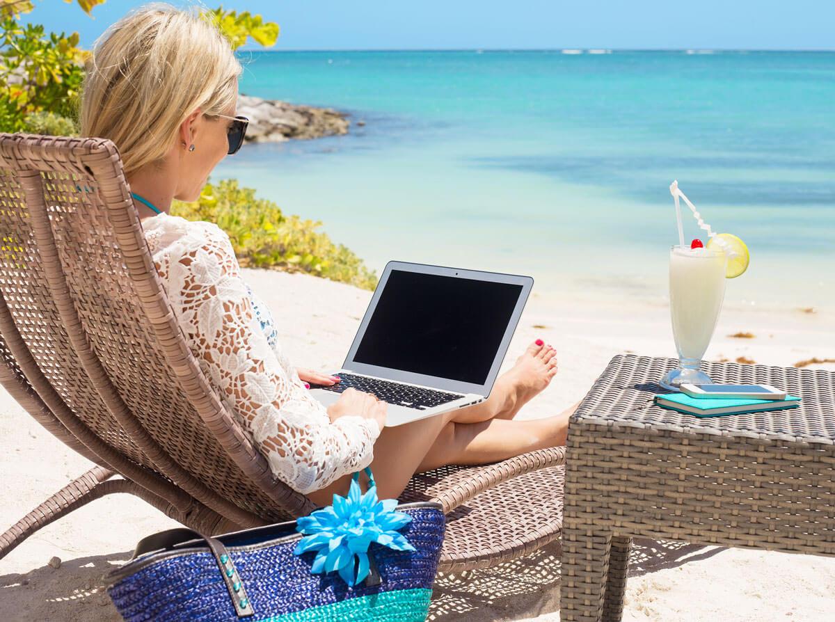 Com a Oriflame pode trabalhar de onde quiser, mesmo da praia